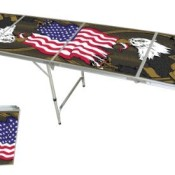 Beer Pong Tisch Set - American Eagle Design - Beer Pong table inkl. 50 Red Solo Cups und 6 Bälle - 1